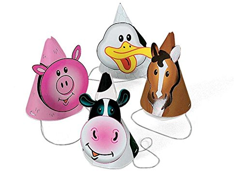 8 Farm Animal Party Hats | Farm Yard Party Supplies Decorations