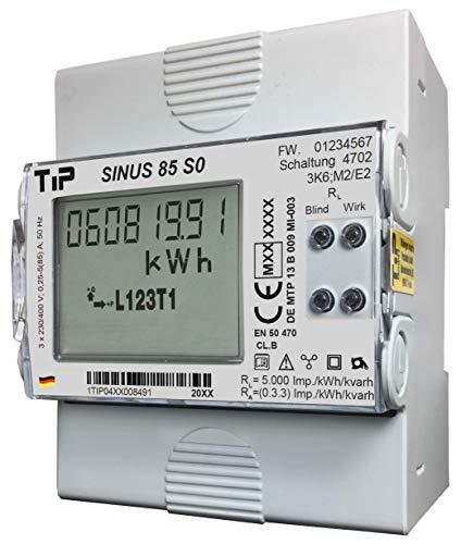 Stromzähler SINUS 85 S0 MID, elektron. Drehstromzähler f. Verteilungseinbau, geeicht (MID-Konform, EU-weit gültig), MADE IN GERMANY! - auch f. Einsatz mit Wechselrichtern geeignet!