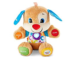 Fisher-Price Laugh and Learn Smart Stages Puppy comes with 75+ songs, sounds, tunes and phrases. Fisher-Price educational puppy toys allow kids to learn words, shapes, numbers and letters Puppy's hands, foot, ear and light-up heart respond to baby'...