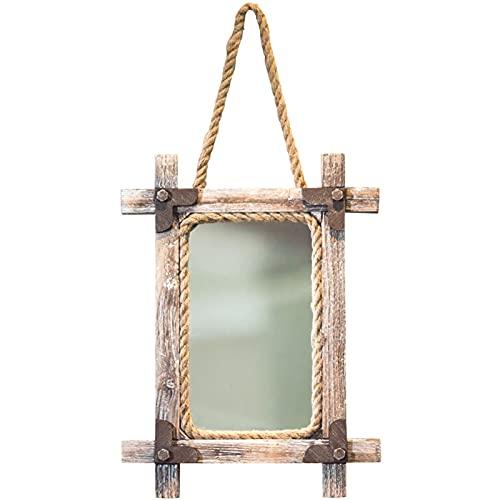 Espejo de madera del espejo de baño, espejo colgante de la puerta, espejo de pared redondo con cuerda, espejo decorativo de pasillo maquillaje tocador, espejo de afeitado para ducha, vintage rústico