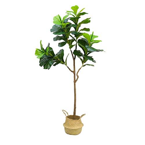 LANHA Ficus Artificial Hoja De Violín Higuera, Plantas Falsas Realistas con Cesta Tejida a Mano Incluida para Decoración Interior del Hogar Y La Oficina Multi Tamaño