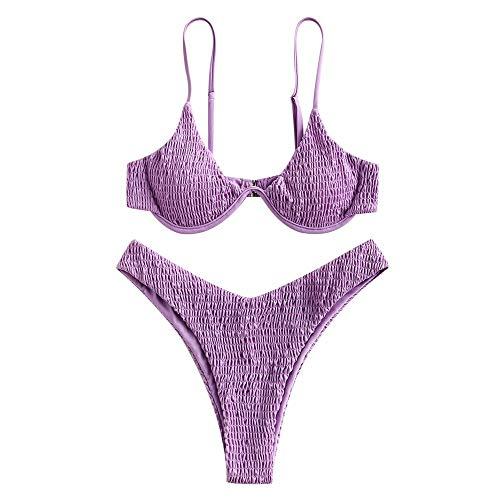 ZAFUL Damen Bügel High Cut Smocked Bikini Set Badeanzug Push Up Bikini Shirred Bikini(violett,S
