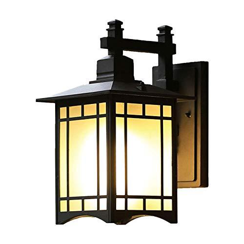 Lámpara de pared para exteriores Lámpara de pared de vidrio retro para patio Lámpara de pared Vintage Antioxidante Antideflagrante Impermeable Aplique de pared exterior Lámpara de pared de aluminio p