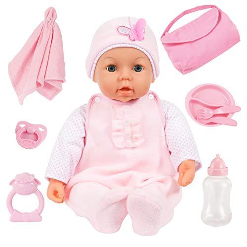 Bayer Design 94694AD, Funktionspuppe, Interaktive Piccolina Magic Eyes, mit Zubehör, Puppe schließt die Augen, spricht, rosa, 46cm, Soft-pink