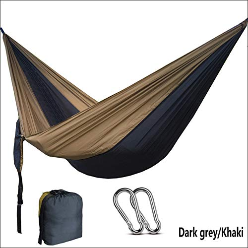 hamac CDFSG Hamac Outdoor Camping Portable Single Hamac Leisure Travel 260x140 cm Gris foncé
