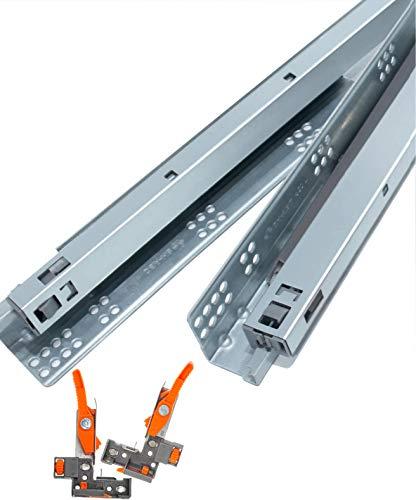 "DecoBasics 18"" Undermount Drawer Slides (4 Pair) Full Extension, Soft Close, Heavy-Duty Sliding Hardware for Kitchens, Bathrooms, Desks   85-lb. Load Rate   Metal (8 Slides, 18 Inch)"