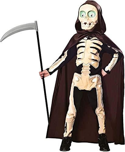 amscan 9902796 – Disfraz infantil de muñeco de muerte, mono, capa, máscara, Grim Reaper, esqueleto, terror, fiesta temática, carnaval, Halloween, color negro, 4 a 5 años