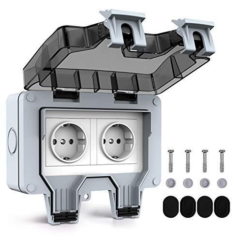 Tikola Außensteckdose Steckdose IP66 Wetterfest Hochleistungs-2Fach-Schalt Outdoor Steckdose für den Außenbereich mit Klappdeckel