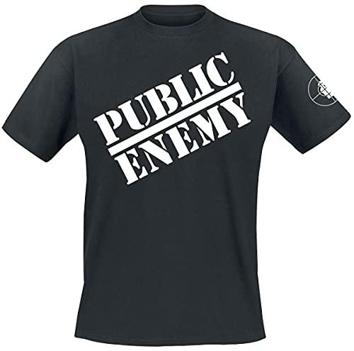 Public Enemy Logo Hombre Camiseta Negro XXL, 100% algodón, Regular