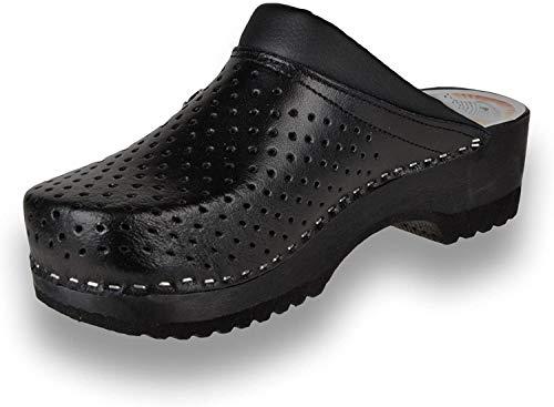 Leon B2 Zuecos Zapatos Zapatillas de Cuero Para Mujer, Negro, EU 41