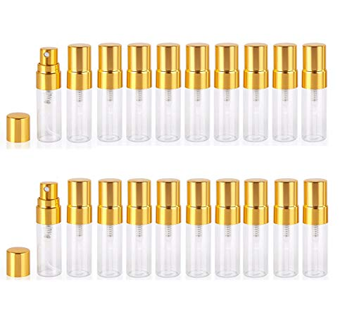 Atomizer Glass bottle Spray Bottle, 3ml Refillable Fragrance Perfume Mini Fine Mist Travel Small Empty Bottle Fragrance Clear Bottle With Aluminum Nozzle,20pcs (Gold)