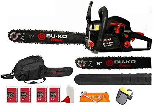 BU-KO 62cc tronçonneuse Essence 3.4HP 20 Barre avec 2 chaînes et 16  Barre avec 2 chaînes - Sac de Couverture et équipement de sécurité Complet