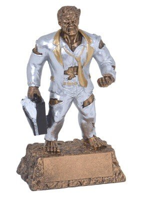 Salesman Monster Trophy - Triumphant Beast Top Sales Award - 6.75 Inch Tall - Engraved Plate on Request - Decade Awards