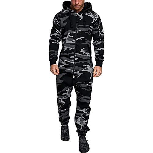 MoneRffi Herren Jogginganzug Sportanzug Trainingsanzug Fitness Outfit Streetwear Trainingsanzug Jogginghose Hoodie Sportbekleidung(Hellweiße Tarnung,M)