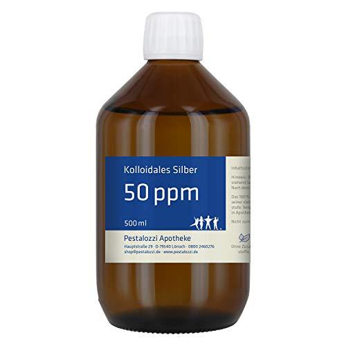 Kolloidales Silber 50 ppm (500 ml) aus Apotheken-Herstellung - 100% natürliches, kolloidales Silberwasser, ohne chemische Zusatzstoffe, Inhalt: 500 ml