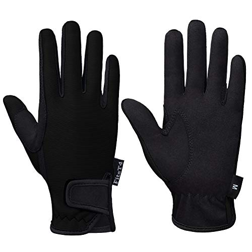 FitsT4 Kids Horse Riding Gloves Children Equestrian Horseback Glove Boys & Girls Youth Outdoor Mitts Perfect for Biking Cycling Gardening Black XL