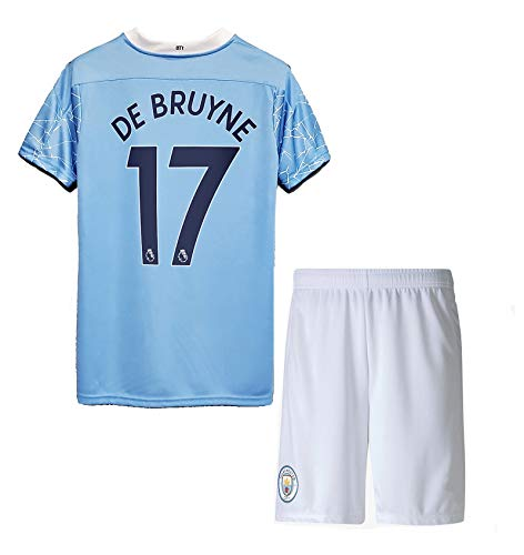 NHMao #17 DE Bruyne 2020/2021 New Season Manchester Kids/Youths Home Soccer T-Shirts Jersey & Shorts Color Blue Size 10-11Years