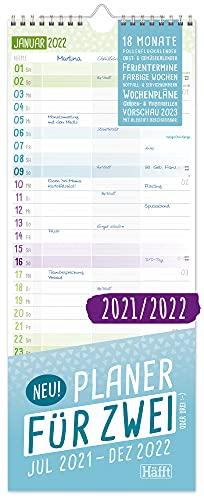 Planer für Zwei 2021/2022 Paarkalender mit 3 Spalten | Wandkalender für 18 Monate: Jul 21 - Dez 22 | Paarplaner Wandplaner, Chäff-Timer inkl. Ferientermine | klimaneutral & nachhaltig