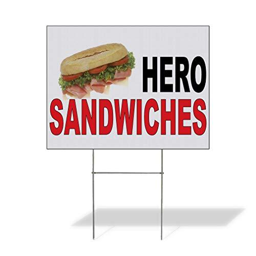 bar sandwiches Fastasticdeals Weatherproof Yard Sign Hero Sandwiches Black Red Food Bar Restaurant Truck Lawn Garden Service Business Boards 24x18 Inches 1 Side Print