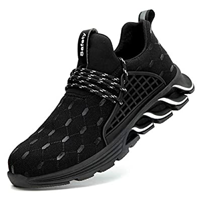 SYLPHID Steel Toe Shoes Work Safety Shoes for Men and Women Breathable Industrial & Construction Sneakers Puncture Proof Footwear from
