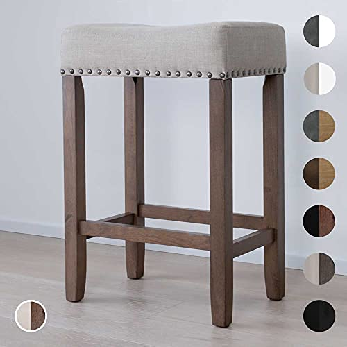Nathan James Wood Pub-Height Kitchen Counter Bar Stool