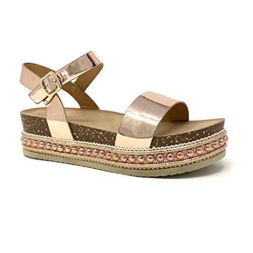 Angkorly - Damen Schuhe Sandalen Mule - Folk/Ethnisch - Böhmen - Plateauschuhe - Nieten-Besetzt - Kork - metallisch Keilabsatz high Heel 5 cm - Rosa Gold 2 1059 T 41