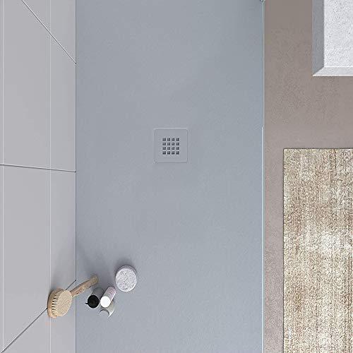 VAROBATH -Plato de ducha de Resina, medida GRANDE - Color Gris Cemento BIG STONE - Cargas Minerales - Textura pizarra, antideslizante y antibacteriano. Fabricado en España. (120x120)