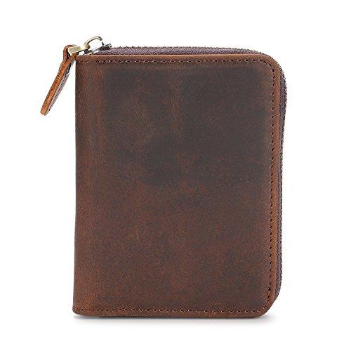 Kattee Unisex Vintage Look Genuine Leather Zipper Wallet Credit Card Holder Purse Photo #3