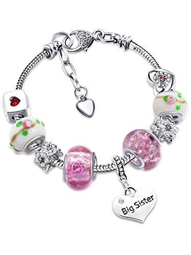 Big Sis Shiny Crystal Charm Bracelet Bangle Jewelry Wristband with Gift Box Set for Lady (Flower Rhinestone)