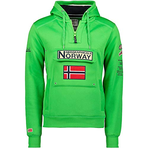 Geographical Norway GYMCLASS Men - Sudadera Capucha Bolsillos Hombre - Chaqueta Casual Hombres Abrigo - Camisetas Camisa Manga Larga - Hoodie Deportiva Regular Fitness Jacket Tops (Verde Fluo S)