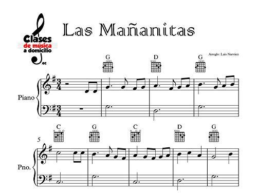 Las Mañanitas - Sheet Music, Partitura for Piano - Easy, Fácil: Instrumental Version (Sheet Music for Piano 1 nº 6) (Spanish Edition)