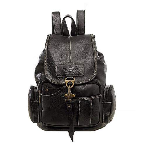 Rucksäcke, Rucksäcke, Retro-Rucksack für Damen, für Schultüten für Mädchen, große Rucksäcke, Kordel, Schultüten aus hochwertigem PU-Leder, Schwarz (Schwarz) - dgfg82