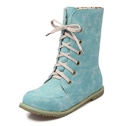Minetom Mujer Otoño Invierno Cálido Peluche Forrada PU Cuero Botas de Moto Antideslizante Confort Punta Redonda Pisos Zapatos con Cordones Chelsea Boots
