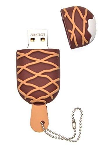 Pennetta USB 16GB Simpatiche Chiavetta USB 2.0 - Divertente Pen Drive 16 Giga Penna USB - Carino PenninaUSB Gelato al Cioccolato Pendrive 16 GB Regalo Originale Memoria Flash USB by FEBNISCTE