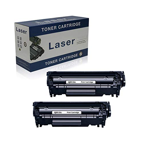 Compatible Reemplazo De Cartuchos De Tóner para HP 12A Q2612A para Su Uso con HP Laserjet 1012 1015 1018 1020 1022 3015 3020 3030 3050 3052 3055 M1319FMFP M1005MFP Impresora, Negro,2 Pack