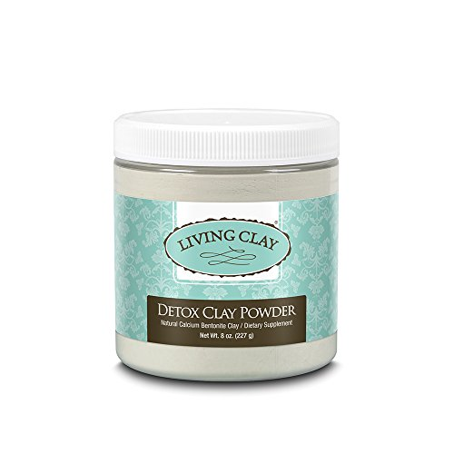 Living Clay Detox Clay Powder   All-Natural Bentonite Calcium Clay for Internal & External Deep Cleansing   Perfect for Mask, Bath or Wrap   8 oz
