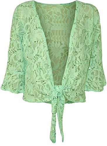FASHION 7STAR Nueva mujer encaje floral 3/4 manga cárdigan señoras frente atado lentejuelas encogimiento bolero elástico recortado top más tamaño