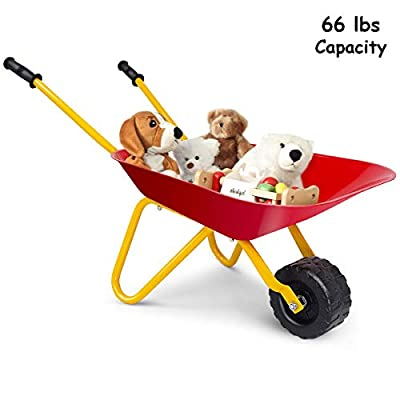 HAPPYGRILL Kids Wheelbarrow Garden Toy Cart for Boys & Girls Dump Cart Toy Yard Garden Planting Dirt Leaves Tools for Toddlers Kids Play