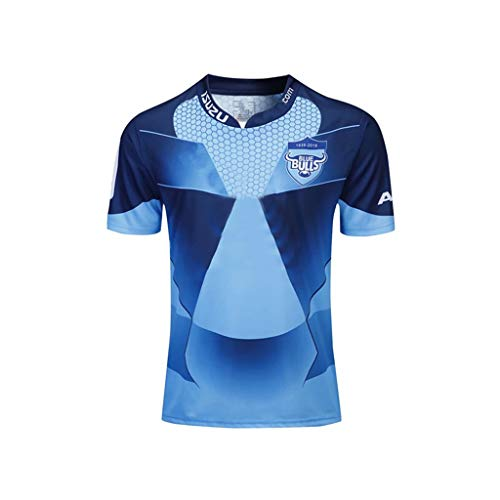 G&F Blau Bull Rugby Fan Trikot Home Away Supporter Short Sleeve Trainings Jersey Erwachsene Kinder (Color : Blue, Size : XXXL)