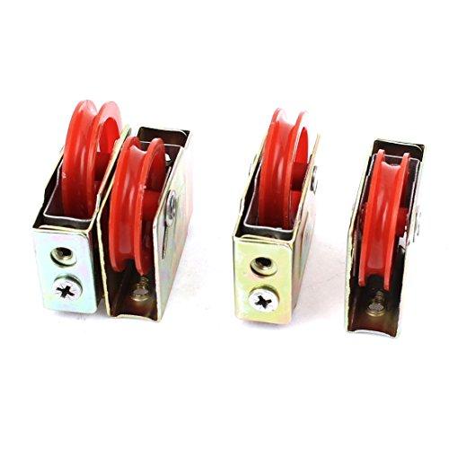 Aexit 4 Unids 73 Tipo Solo Rodillo Rojo Puerta Ventana Aluminio Aleación (model: E7762IV-4627FJ) Polea Rueda 36mmx8mm