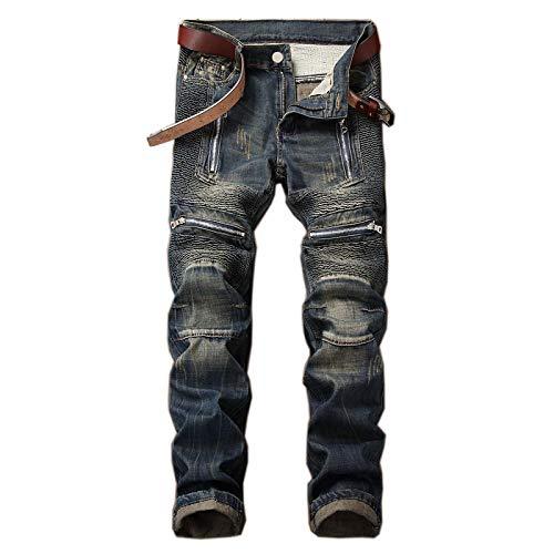 ShFhhwrl Vaqueros de Moda clásica Denim Designer Hole Jeans Rasgados para Hombres Tamaño Otoño Primavera Hip Hop