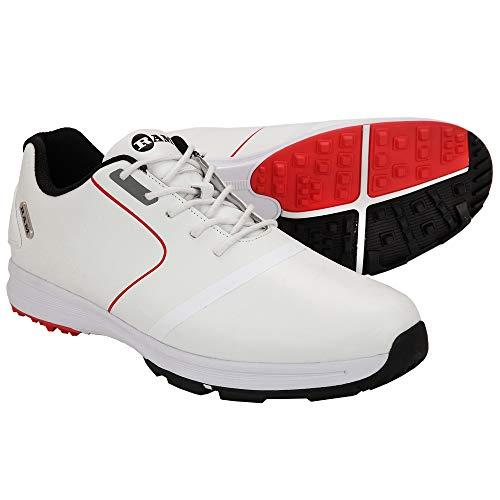 Ram Golf Player Mens Waterproof Golf Shoes -White Red- UK 9.5