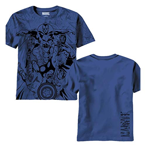 Vengadores Valiants AOP Navy Camiseta |...