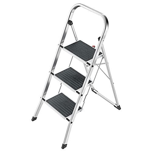Hailo K60 StandardLine Alu-Klapptritt-Leiter | 3 große Stahl-Stufen mit Anti-Rutsch-Matten belastbar bis 150 kg | Trittleiter mit Klappsicherung | besonders leicht und einfach zu verstauen | silber
