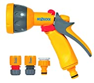 Includes theHozelock Multi Spray Gun which features five spray patterns Gives you control over the amount of water & spray delivered & ensures comfort during use. Includes a hose end connector, waterstop connector and a tap connector suitable for 1/2...