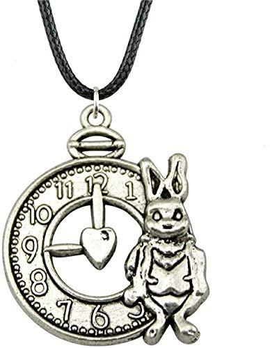 LKLFC Collar Mujer Collar Hombre Collar Nuevo 31X25Mm 2 Colores Bronce Antiguo Color Plata Antiguo Conejo y Reloj Colgante Collar Colgante Collar Niñas Niños Regalo