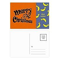 黒の美しいフォントのメリー・クリスマス バナナのポストカードセットサンクスカード郵送側20個