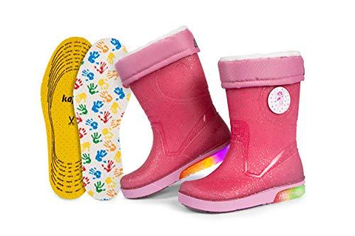 Kinder-Regenstiefel   Gummistiefel mit herausnehmbarem Warmfutter   Extra Kaps Einlegesohle   Blinkeffekt in der Sohle   Reflektierende Details von 3M Scotchlite   Made in Italy (26/27 - Glitzer Pink)
