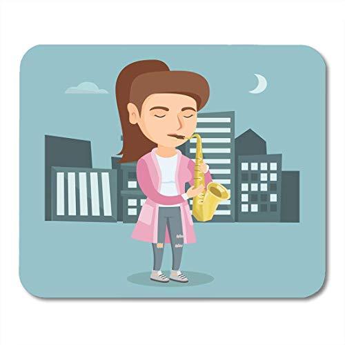 Muiskussentjes Kaukasische Vrouw met Gesloten Ogen Spelen De Saxofoon 's Nachts Aangename Muzikant met Staand in City Mouse Pad