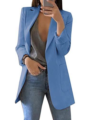 Minetom Damen Elegant Langarm Blazer Sakko Einfarbig Slim Fit Revers Geschäft Büro Jacke Kurz Mantel Anzüge Bolero mit Tasche A Blau DE 40